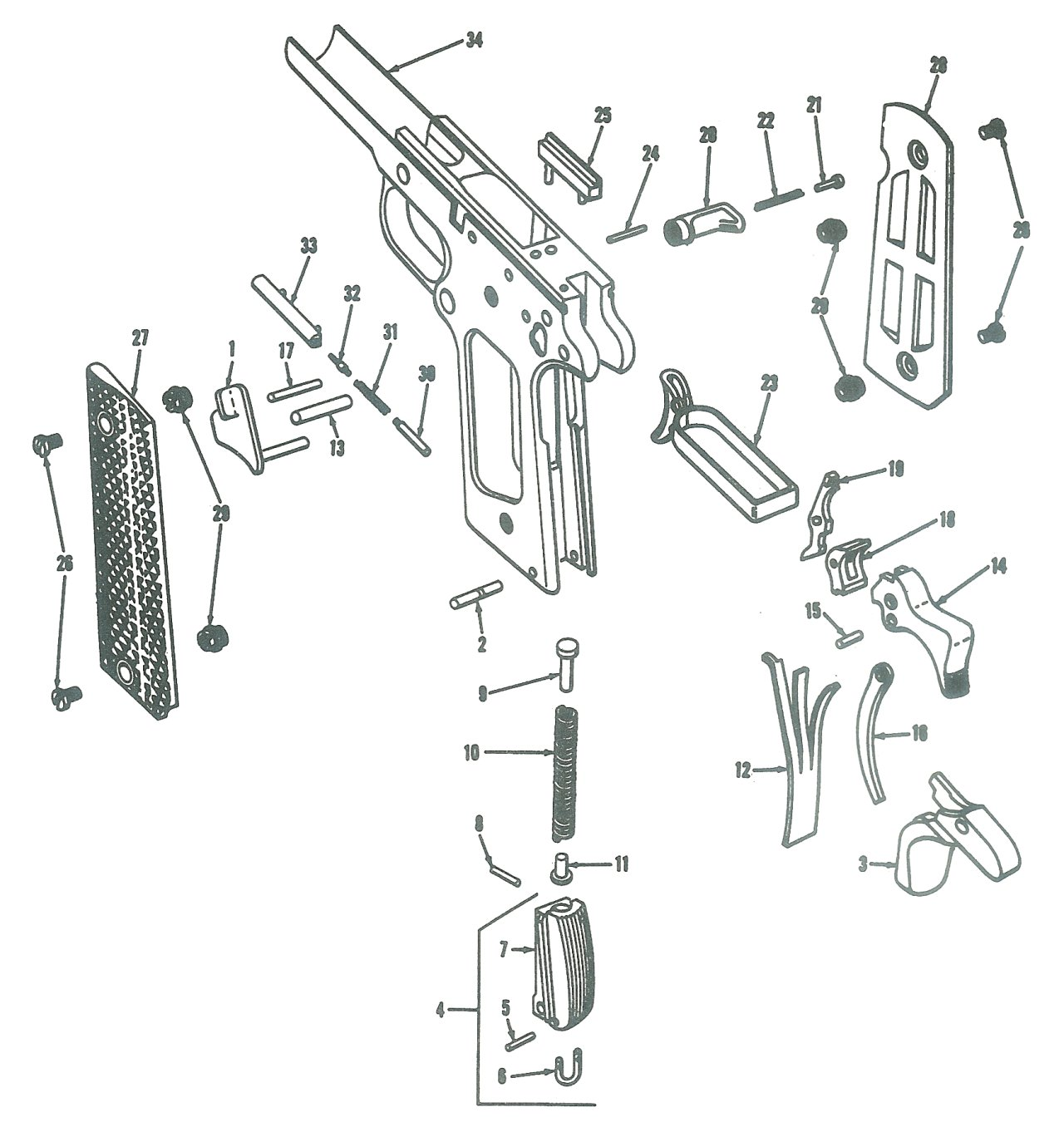 1911 Pistol Exploded View